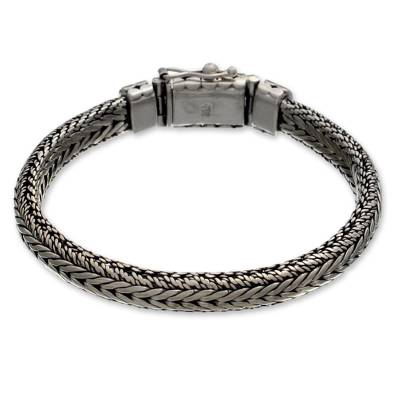Men's sterling silver braided bracelet, 'Open Mind' - Men's sterling silver bracelet
