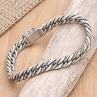 Men's sterling silver bracelet, 'Two Paths' - Men's Sterling Silver Chain Bracelet