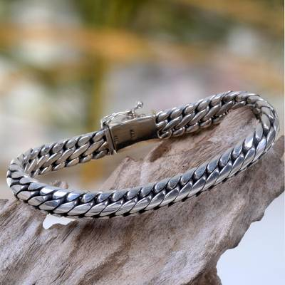 Sterling silver braided bracelet, 'Love Links' - Men's Sterling Silver Link Bracelet