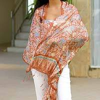 Silk batik shawl, 'Bird of Paradise' - Indonesian Silk Shawl