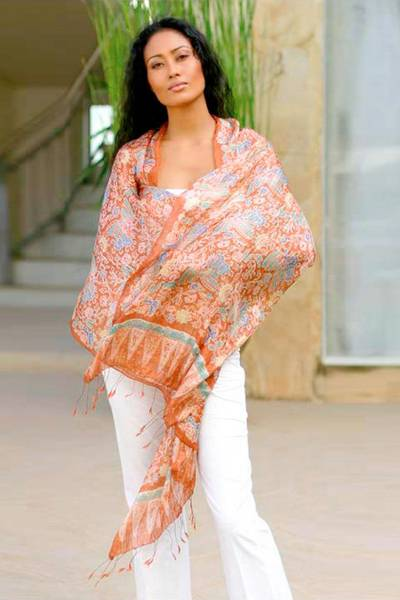 Silk batik shawl, 'Bird of Paradise' - Batik Silk Shawl from Indonesia