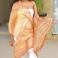 Silk batik shawl, 'Ginger Jasmine'