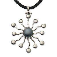 Pearl and leather necklace, 'Blue Star' - Pearl and leather necklace