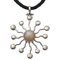 Pearl and leather necklace, 'White Star' - Pearl and leather necklace