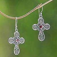 Garnet dangle earrings, 'Indonesian Cross' - Artisan Sterling Silver Cross Earrings with Garnet Center