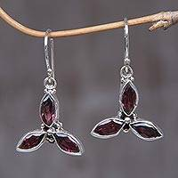 Garnet earrings, 'Helix' - Garnet Sterling Silver Dangle Earrings
