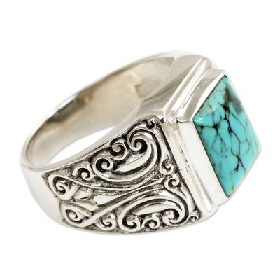 Unisex Sterling Silver and Reconstituted Turquoise Ring