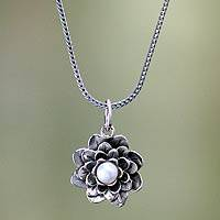 Pearl pendant necklace, 'Sacred White Lotus' - Unique Pearl Pendant Necklace