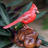 Wood statuette, 'Virginia Cardinal' - Handmade Wood Bird Sculpture