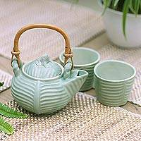 Ceramic tea set, 'Banana Frog' (set for 2) - Leaf and Tree Ceramic Tea Set from Indonesia (Set for 2)
