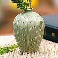 Ceramic vase, 'Frangipani Frog' - Handcrafted Ceramic Vase with Leaves and Frog