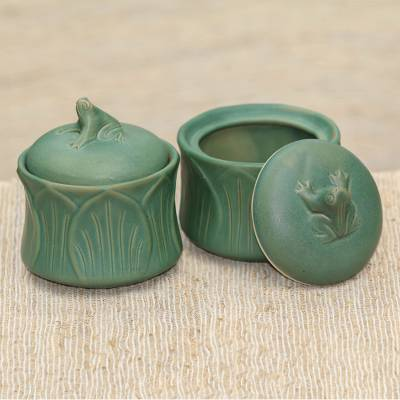 Ceramic condiment jars, 'Leaping Frogs' (pair) - Fair Trade Ceramic Condiment Jars (Set of 2)