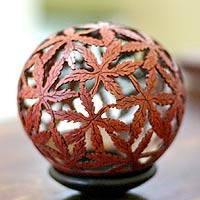 Coconut shell sculpture, 'Nature's Web' - Fair Trade Coconut Shell Sculpture