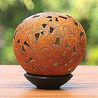 Coconut shell sculpture, 'Sunflowers' - Floral Coconut Shell Sculpture with Stand