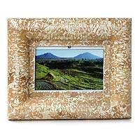 Wood and eggshell photo frame, 'Nature's Charm' (4x6) - Wood and eggshell photo frame