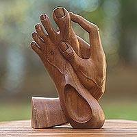 Wood statuette, 'Take Action' - Artisan Crafted Wood Sculpture