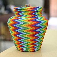 Beaded ate grass basket,