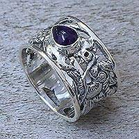 Amethyst band ring, 'Dragon Guardian' - Handcrafted Sterling Silver Dragon Ring with Amethyst Stone