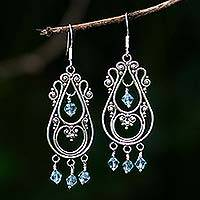 Sterling silver chandelier earrings, 'Memories' - Sterling Silver Chandelier Earrings