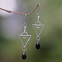 Makassar ebony dangle earrings, 'Triangle' - Makassar ebony dangle earrings