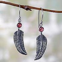 Garnet dangle earrings, 'Light as a Feather'