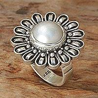 Pearl flower ring, 'Sunflower' - Pearl flower ring