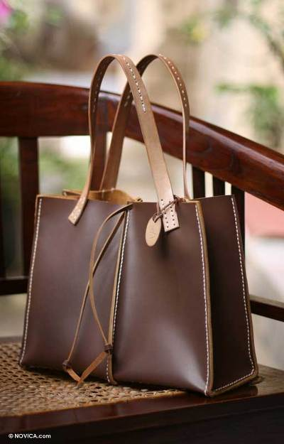 Leather handbag, 'Milk Chocolate' - Brown Leather Shoulder Bag