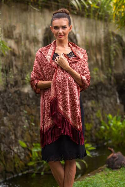 Silk batik shawl 'Wild Russet Garden' - Russet and Buff Hand Stamped Silk Batik Shawl from Bali