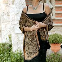 Silk batik shawl 'Wilderness' - Hand Made Batik Silk Shawl