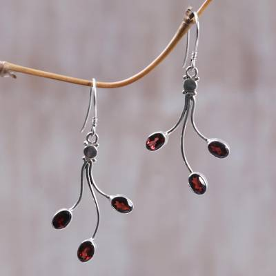 Garnet dangle earrings, 'Crimson Leaves' - Sterling Silver Garnet Dangle Earrings