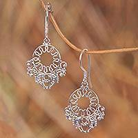 Sterling silver flower earrings, 'Fantasy' - Sterling silver flower earrings