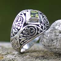 Peridot dome ring, 'Bali Treasure' - Hand Made Sterling Silver and Peridot Ring