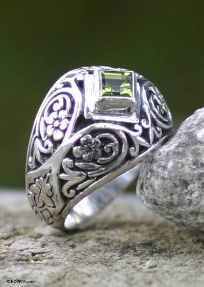 Hand Made Sterling Silver and Peridot Ring