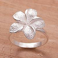 Sterling silver ring, 'Frangipani' - Hand Made Sterling Silver Flower Ring