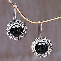 Onyx dangle earrings, 'Halo' - Floral Sterling Silver Onyx Dangle Earrings