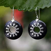Makassar ebony dangle earrings, 'Moonbeams' - Makassar ebony dangle earrings
