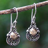 Gold accent dangle earrings, 'Eastern Sun' - Gold Accent Sterling Silver Dangle Earrings