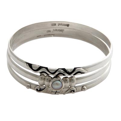 Sterling Silver Pearl Bangle Bracelets (Set of 3)