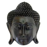 Wood mask, 'Lord Buddha' - Hand Carved Buddha Mask