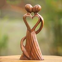 Wood statuette, 'My Heart and Yours' - Original Wood Sculpture Hand Carved in Indonesia