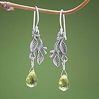 Sterling silver dangle earrings, Rainforest