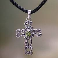 Peridot cross necklace, 'Balinese Cross' - Handmade Religious Peridot Necklace
