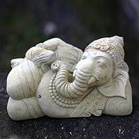 Sandstone statuette, 'Ganesha and the Holy Lotus' - Stone Hindu Sculpture