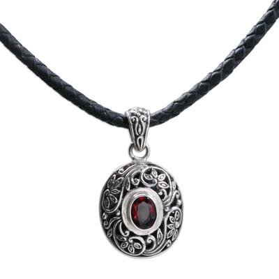 Unique Garnet and Silver Pendant Necklace