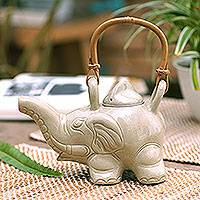 Ceramic teapot, 'Elephant Cream Tea' - Handcrafted Ceramic Teapot