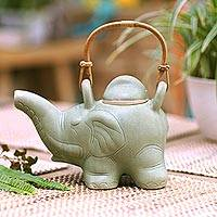Ceramic teapot, 'Elephant Green Tea' - Indonesian Ceramic Teapot