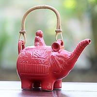 Ceramic teapot, 'Buddha and the Ruby Elephant' - Hand Made Indonesian Ceramic Teapot