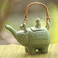 Ceramic teapot, 'Buddha and the Jade Elephant' - Artisan Crafted Ceramic Teapot