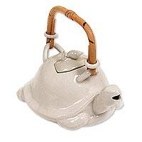 Stoneware teapot Turtle and Snail Indonesia