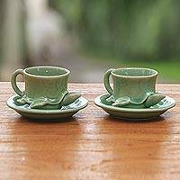 Stoneware ceramic cup, 'Tea-Time Turtles' (pair) - Green Ceramic Cups and Saucers (Pair)